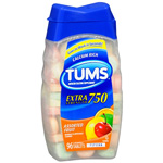 Tums E-X Extra Strength Antacid/Calcium Supplement, Assorted Fruit, 96 ea