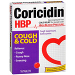 Coricidin HBP Antihistamine Cough & Cold Suppressant for People with High Blood Pressure, 16 ea