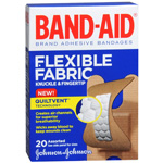 Band-Aid Flexible Fabric Adhesive Bandages, Knuckle-Fingertip, 20 ea