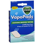 Vicks Soothing Menthol Scent Pads, for Waterless Vaporizers, 6 ea