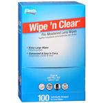 Flents Wipe 'N Clear Pre-moistened XL Lens Wipes, 100 ea