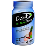 Dex 4 Glucose Tablets, Assorted Fruit, Assorted Flavors, 50 ea