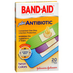 Band-Aid Plus Antibiotic Adhesive Bandages, Neon Colors, Assorted Sizes, 20 ea