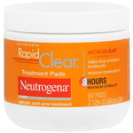 Neutrogena Rapid Clear Acne Treatment Pads Salicylic Acid, Maximum Strength, 60 pads