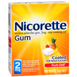 Nicorette Nicotine Gum 2mg, Fruit Chill, 100 ea