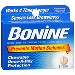 Bonine Motion Sickness Protection, Raspberry Flavored Chewable Tablets, 8 ea