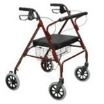 Drive Medical Go-Lite Bariatric Steel Rollator, Red, 1 ea