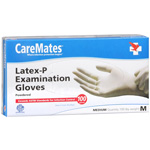 CareMates Disposable Medical Gloves - Latex, Medium, 100 ea