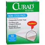 Curad Ouchless Non-Stick Pads 3 x 4 Inches - 10 Ea