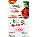 Beano Strawberry Meltaways Food Enzyme Dietary Supplement, 15ct