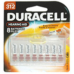 Duracell Easy Tab Zinc Air 1.4V Hearing Aid Battery Size 312 Model DA312B8W - 8/Pack