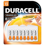 Duracell 1.4 Volt Zinc Air Hearing Aid Batteries Size 13 DA13B8 8 Batteries