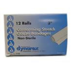 Dynarex Conforming Stretch Gauze Bandages Non-Sterile 3 Inches X 4.1 Yards - 12 Rolls/Box