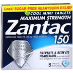 Zantac 150 Maximum Strength Acid Reducer 150 mg Tablets Cool Mint - 8 Ea