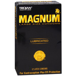 Trojan Magnum Lubricated Latex Condoms, Large 12 ea
