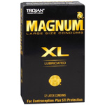 Trojan Lubricated Latex Condoms, Magnum XL, Extra Large 12 ea