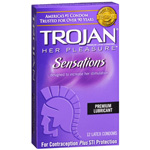 Trojan Her Pleasure Sensations, Premium Lubricant Latex Condoms 12 ea