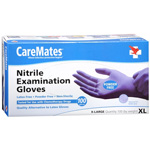CareMates Nitrile Latex and Powder Free Gloves, XL, 100 ea