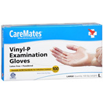 CareMates Vinyl Powdered Gloves Latex, Large, 100 ea, Care#903