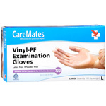 CareMates Vinyl Powder Free Gloves Large, 100 ea