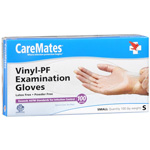 CareMates Vinyl Powder Free Gloves Latex, Small, 100 ea, CARE 10411010