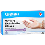 CareMates Vinyl Powder Free Gloves Latex, XL, 100 ea, CARE 10414010