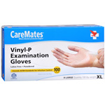 CareMates Vinyl Powder Free Gloves Latex, X-Large, 100 ea, CARE 904