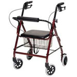 "Lumex Walkabout Four-Wheel Hemi 300 Pounds, 6"" rollator, Red/Burgundy Pad, RJ4302R"