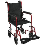 "Roscoe Aluminum Transport 19"" Wheelchair, Burgundy, 250 pounds"