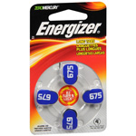 Energizer EZTurn & Lock Hearing Aid Battery, Size 675, 4 Pk