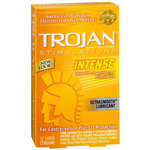 Trojans Stimulations Intense Ultrasmooth Lubricant Condoms, 12 ea