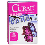 Curad Camouflage Pink/Blue Adhesive Bandages, 25 ea