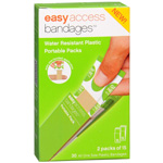 "Easy Access Bandages Water Resistant Plastic Portable Packs, 3/4"" x 3"", 30 ea"