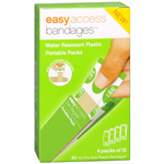 "Easy Access Water Resistant Plastic Portable Bandage Packs, 3/4"" x 3"", 60 ea"