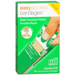 Easy Access Bandages Water Resistant Plastic Portable Packs, Assorted, 60 ea