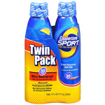 Coppertone Sport High Performance Sunscreen, Clear Continuous Spray, SPF 30, Twin Pack, 6 fl oz