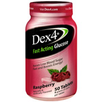 Dex 4 Glucose Tablets, Raspberry, 50 ea