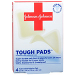 Johnson & Johnson Red Cross Brand Tough Pads, Adhesive, 4 ea