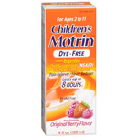 Children's Motrin Ibuprofen Oral Suspension, Dye-Free Berry Flavor Liquid, 4 fl oz