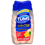 Tums Extra Strength Sugar Free Antacid/Calcium Supplement, Orange Cream, 80 ea