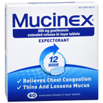 Mucinex Expectorant, Guaifenesin Extended-Release 600 mg Tablets, 40 ea