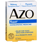 AZO Yeast, Natural Symptom Prevention & Relief, 400mg, Tablets, 60 ea