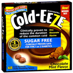 Cold-Eeze Sugar Free Chocolate Mint Tablets with Zinc Gluconate Glycine, 48 ea