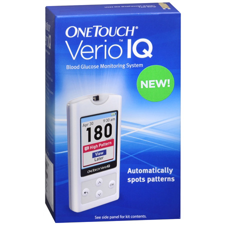 OneTouch® Verio® IQ Meter is here to make testing simple. For just a speck of blood, you get numbers that are clear as day. Spots trends too. Specifications • Accurate results in just 5 seconds • Requires just a tiny drop of blood (ul) • No Coding required • Light for testing in the dark.