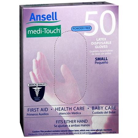 ANSELL MEDI TOUCH LATEX DISPOSABLE GLOVES 10